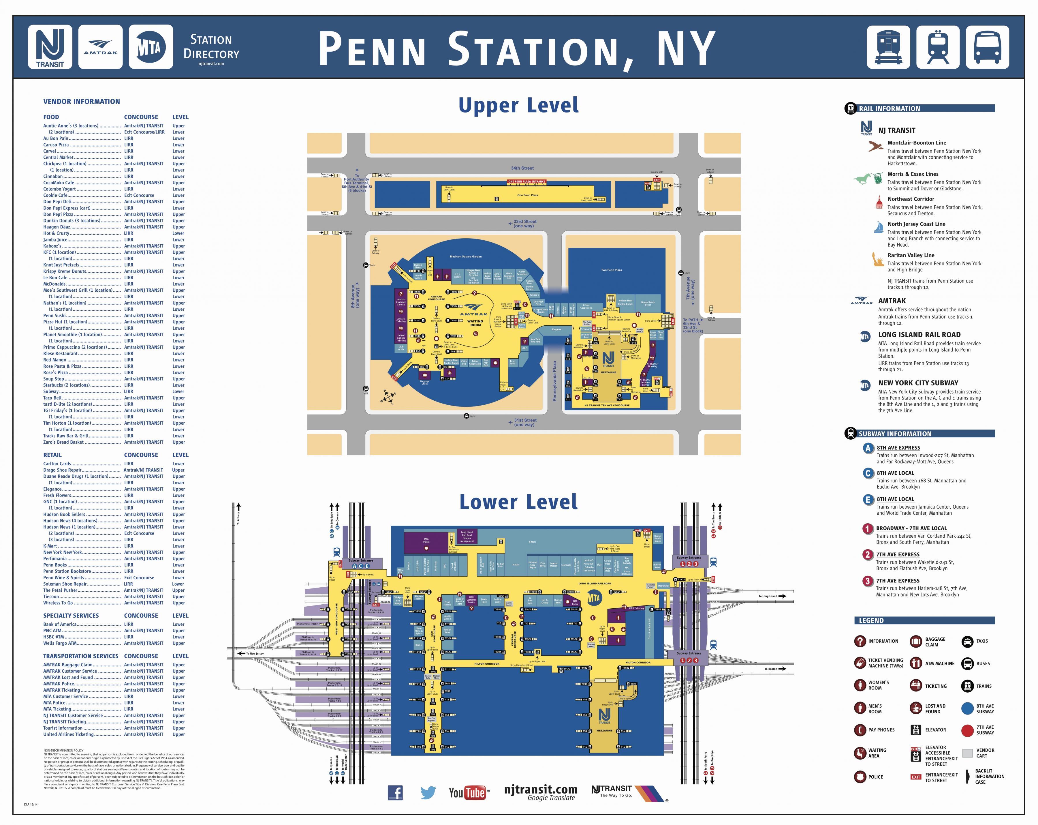 New York Penn Station Map Penn station map   Penn station Manhattan map (New York   USA)