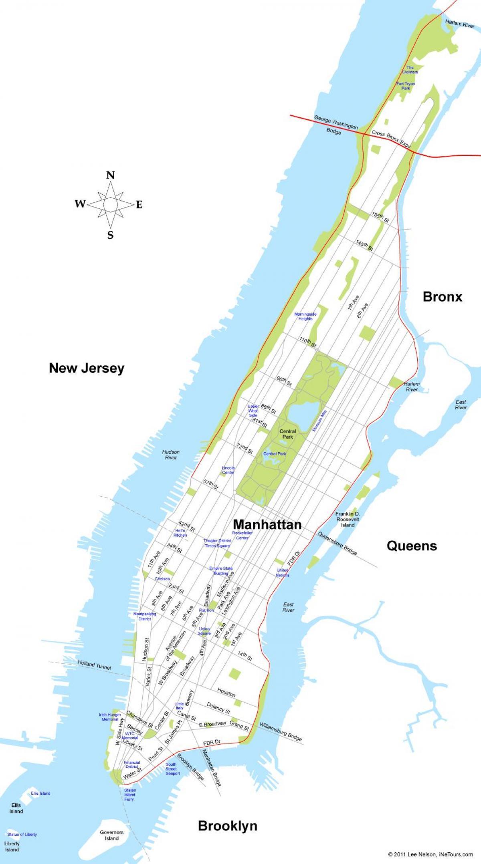 Manhattan Island Map Manhattan island map   Map of Manhattan island (New York   USA)