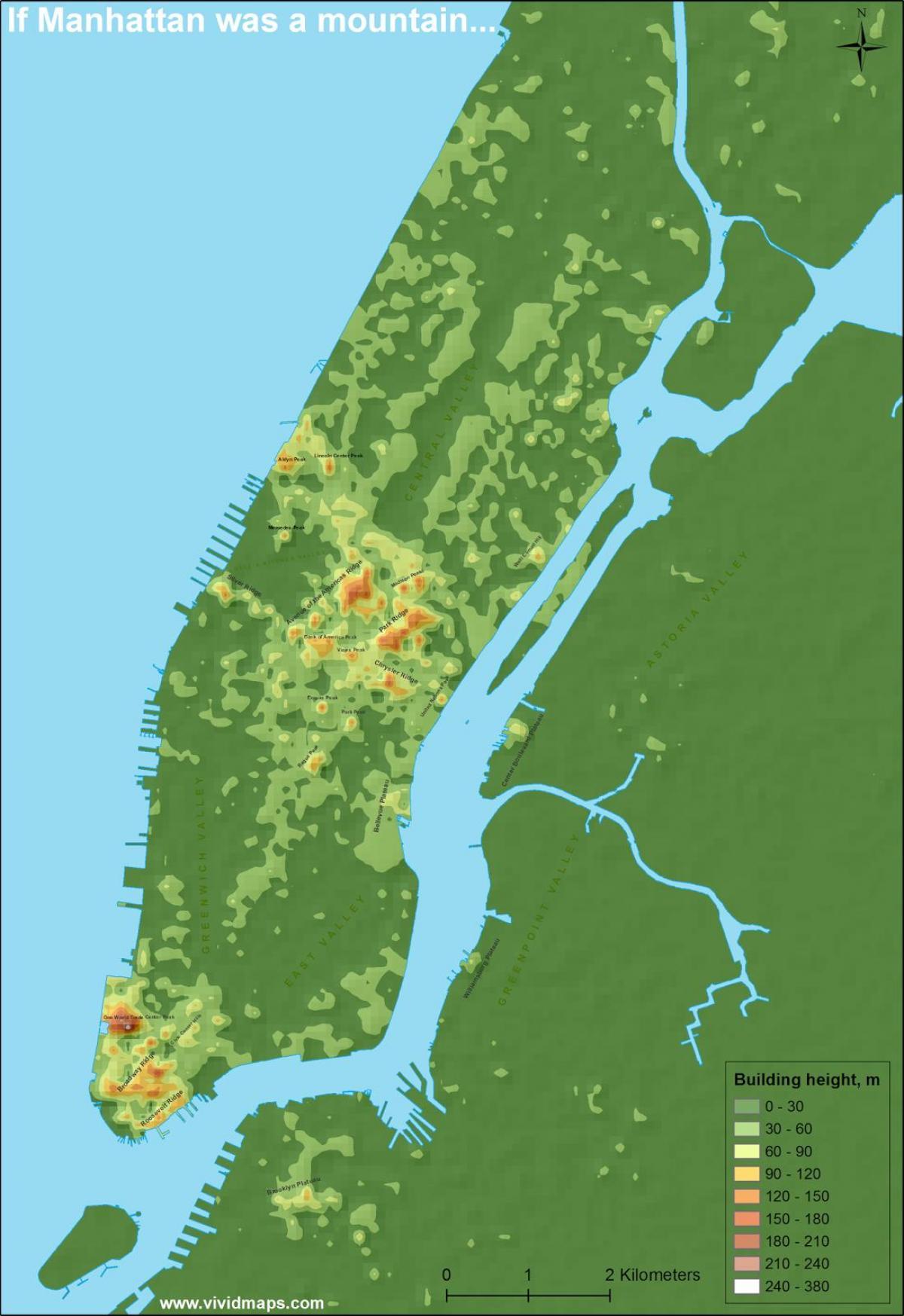 Manhattan topographic map   Map of Manhattan topographic (New York