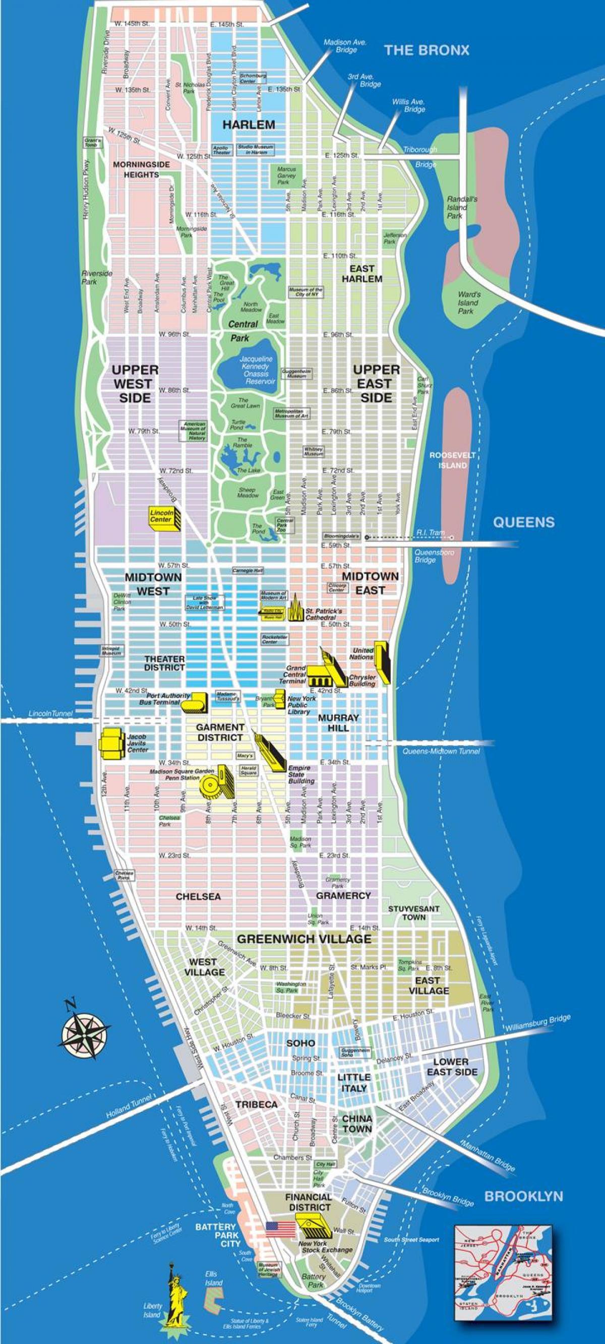 Map Of New York Neighborhoods Manhattan.Map Of Manhattan Neighborhoods With Streets Map Of Upper Manhattan