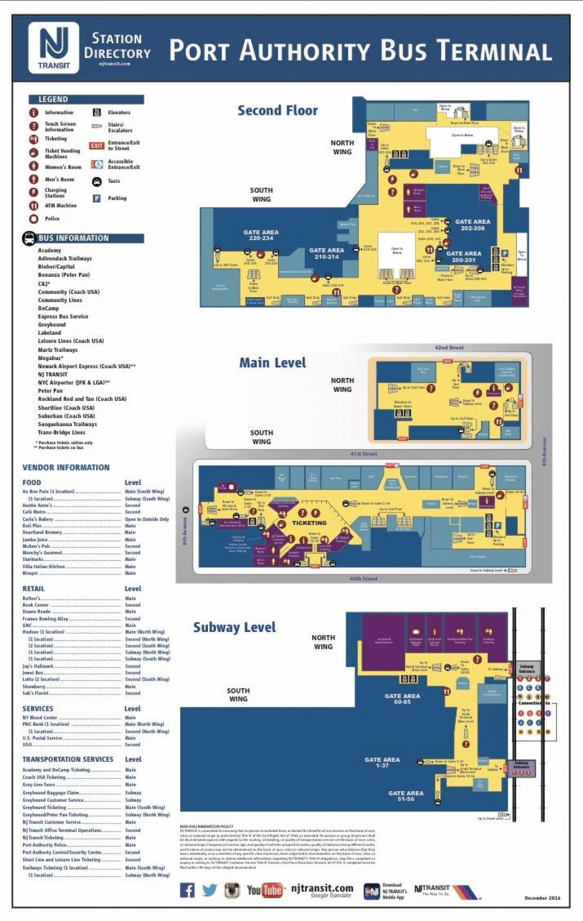 port authority bus terminal map - port authority bus route