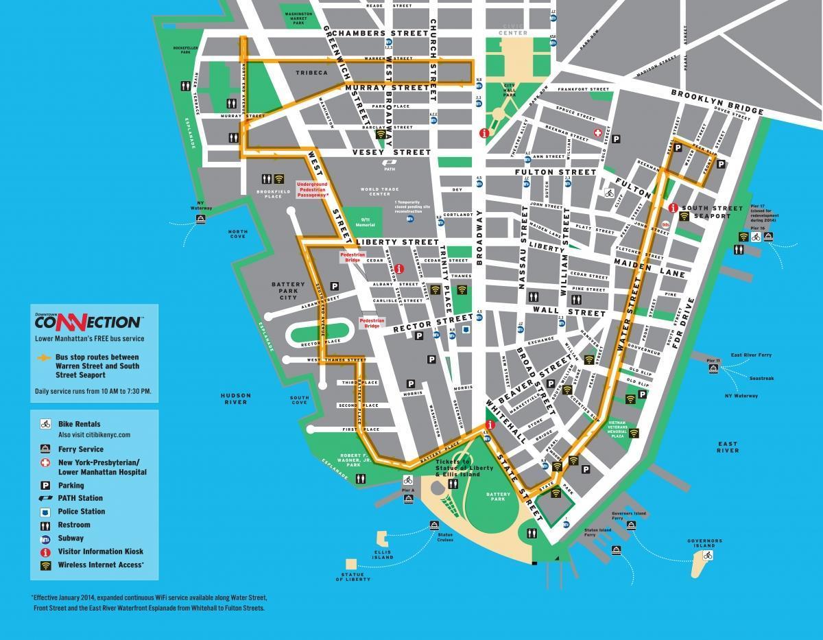 Walking map of lower Manhattan Lower Manhattan walking tour map